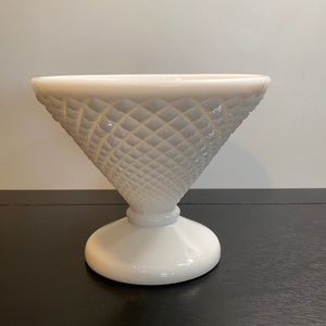 Vintage Diamond Point Milk Glass Compote